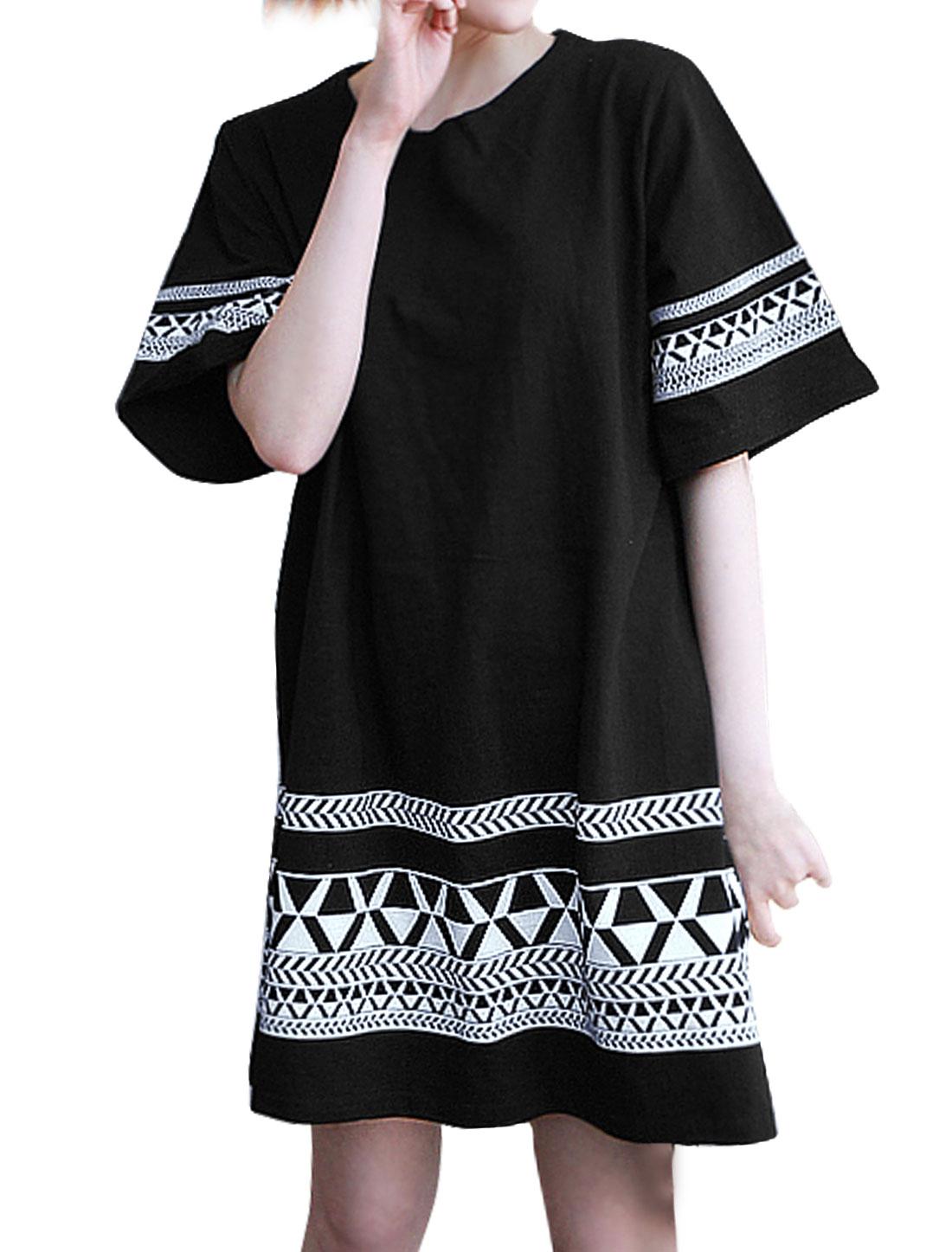 Women Round Neck Short Sleeves Geometric Tunic Dress Black XS