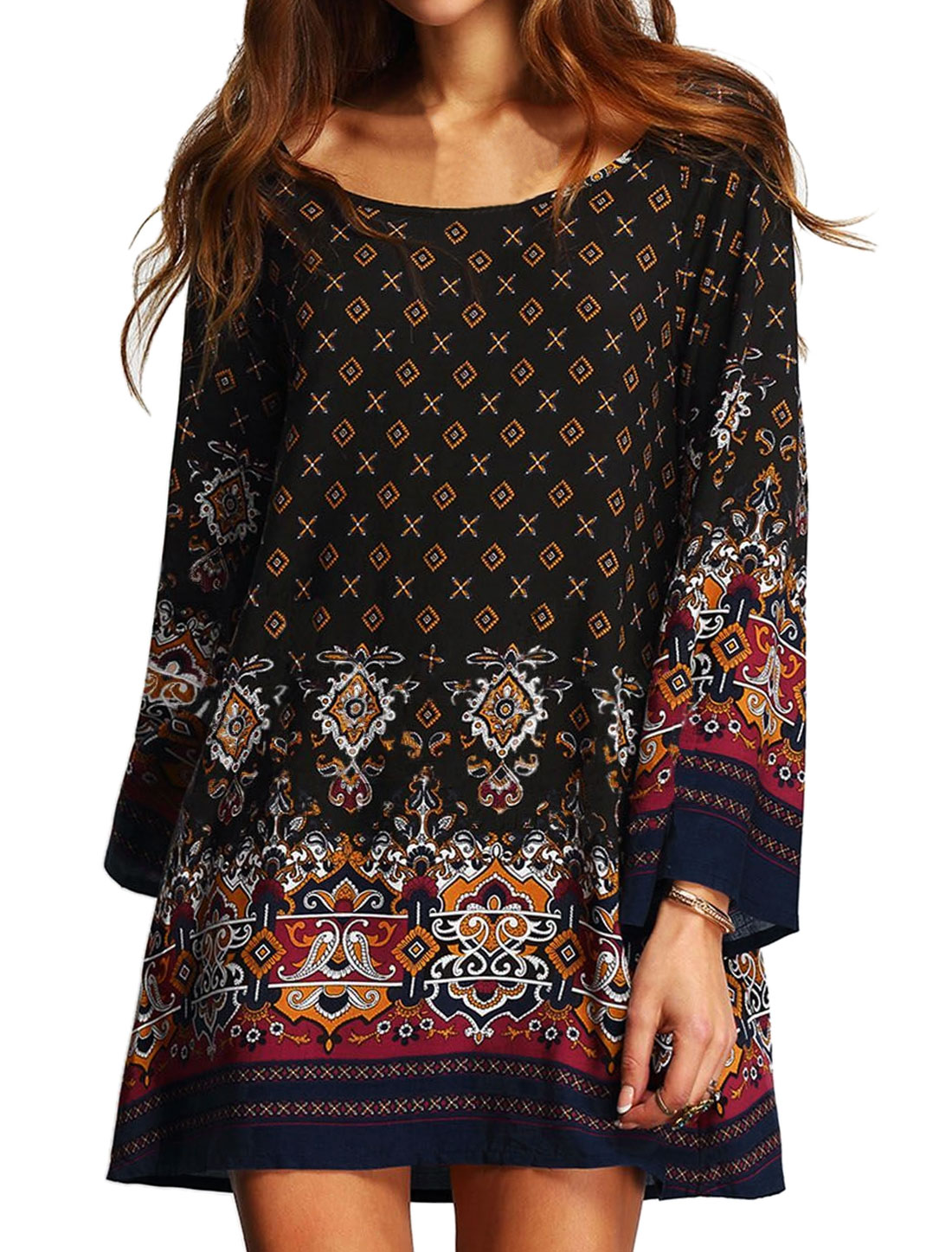 Women Scoop Neck Long Sleeves Novelty Prints Tunic Dress Black XS