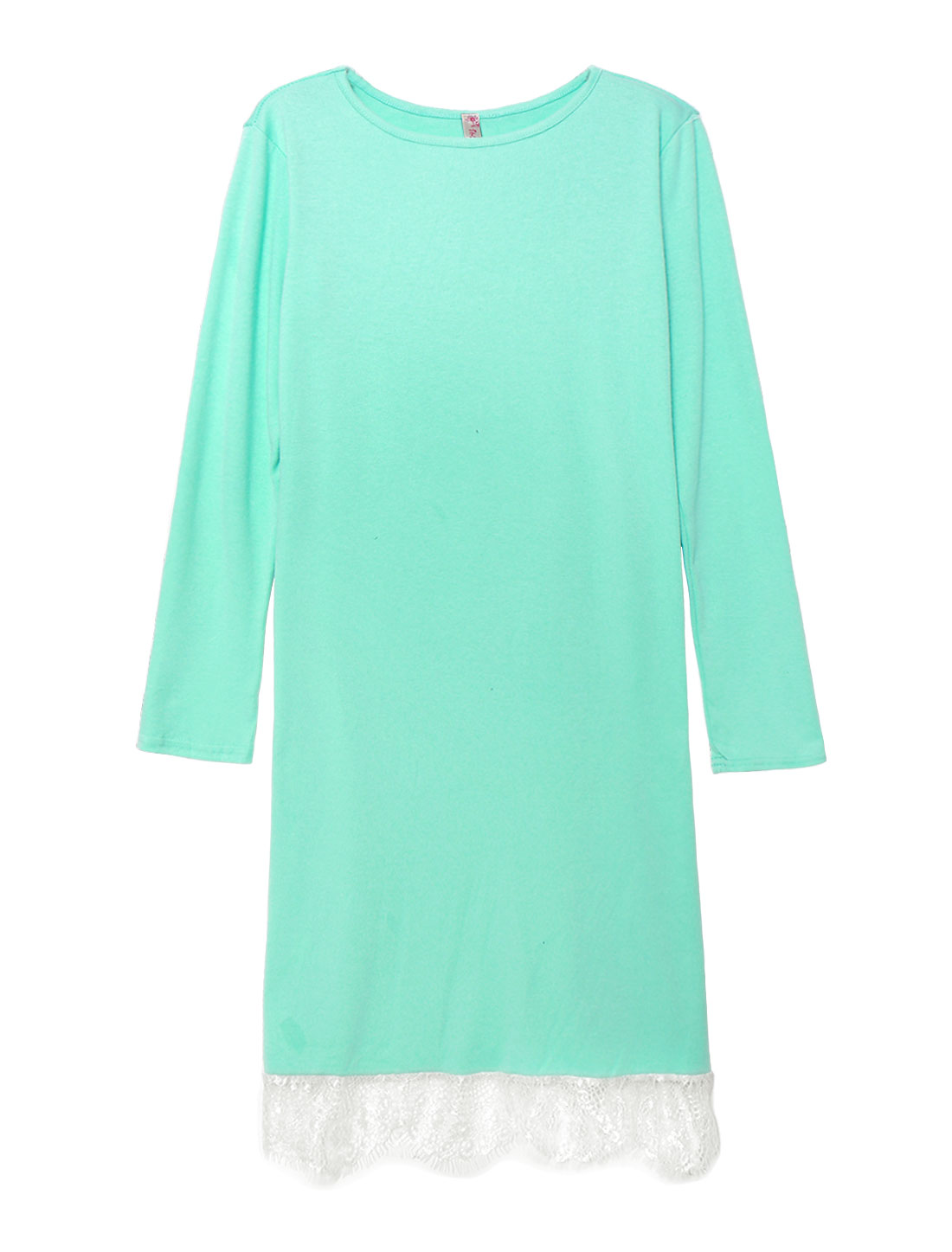 Women Eyelash Lace Hem Long Sleeves Sheath Dress Green S