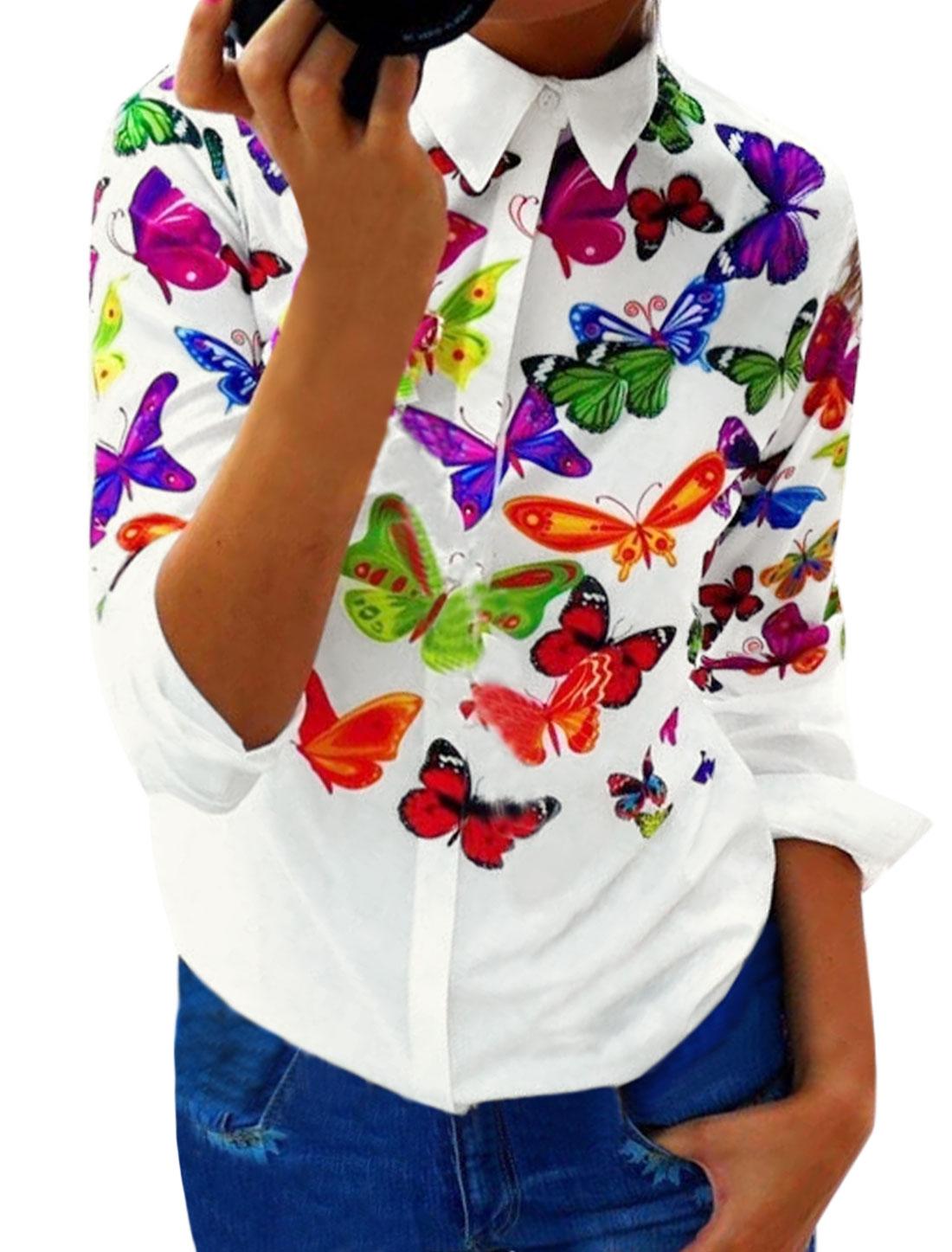 Women Butterflies Prints Point Collar Buttoned Slim Fit Shirt White M