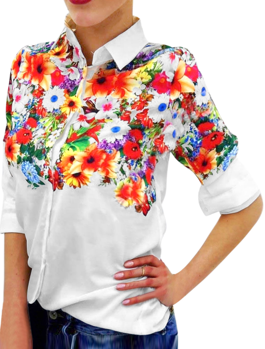 Women Sunflowers Prints Point Collar Buttoned Slim Fit Shirt White M
