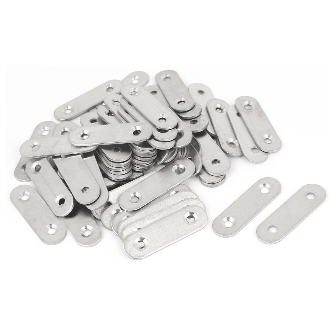 50mm x 15mm x 2mm Stainless Steel Straight Bracket Flat Repair Plate 60PCS