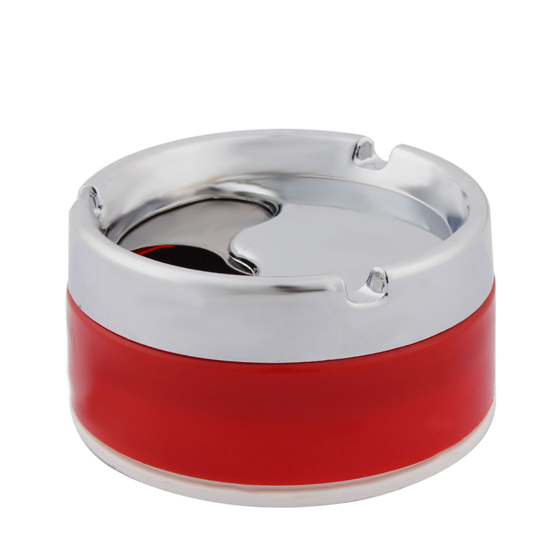 Household Cylinder Shape 3 Grooves Design Rotatable Cigarette Holder Ashtray Container Red