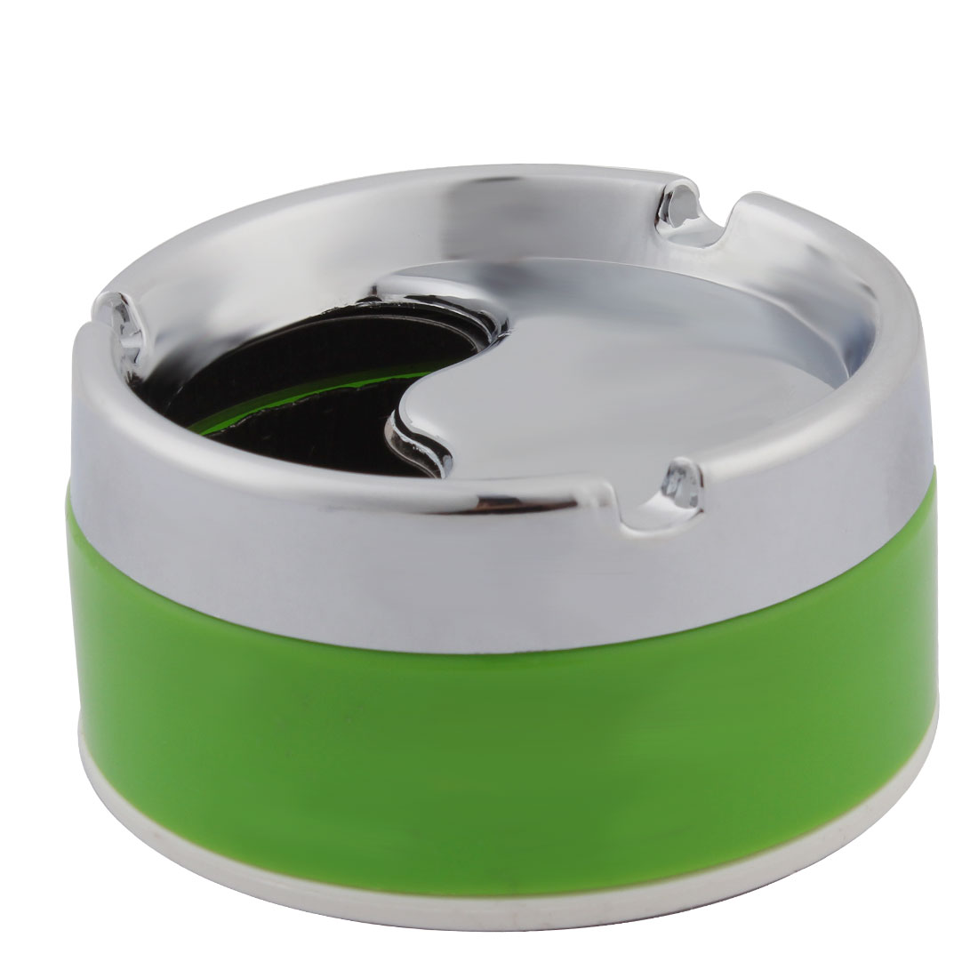 Household 3 Grooves Design Rotatable Cigarette Holder Ashtray Container Green