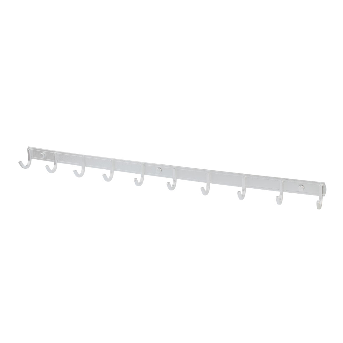 Household Alloy Wall Mount 10 Hooks Towel Coat Hat Rack Hanger Silver Tone 75cm Long