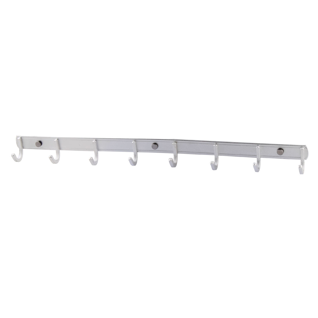 Household Alloy Wall Mount 8 Hooks Towel Coat Hat Rack Hanger Silver Tone 57cm Long