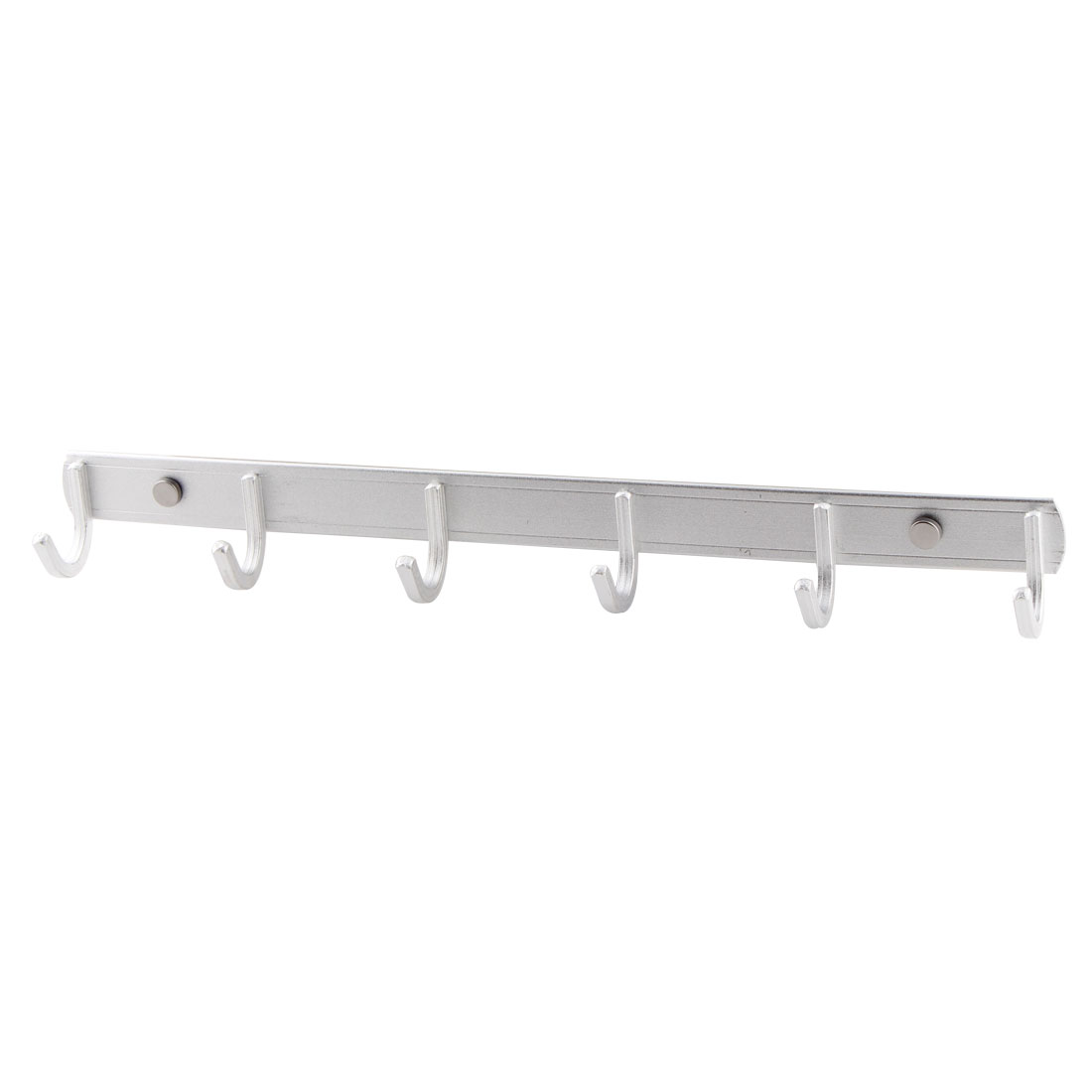 Household Alloy Wall Mounted 6 Hooks Hang Towel Hat Hanger Rack Silver Tone