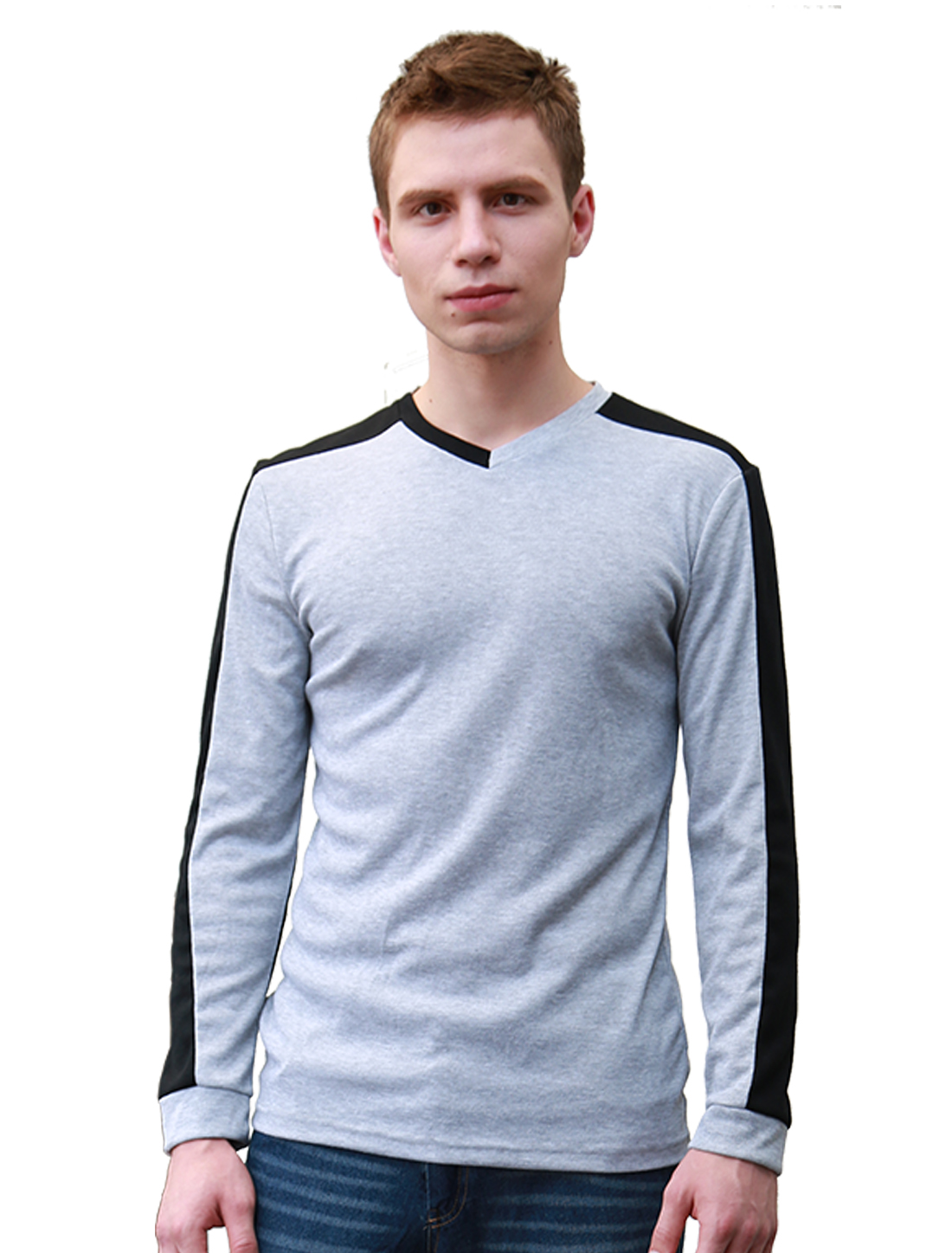Men V Neck Long Sleeves Contrast Color T-Shirt Gray M