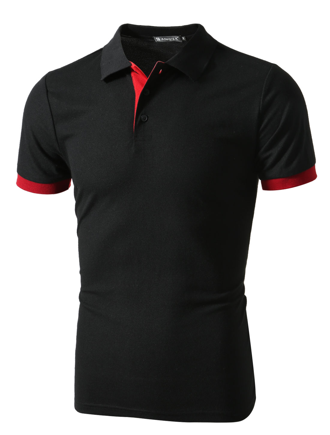 Men Short Sleeves Point Collar Slim Fit Casual Polo Shirts Black M