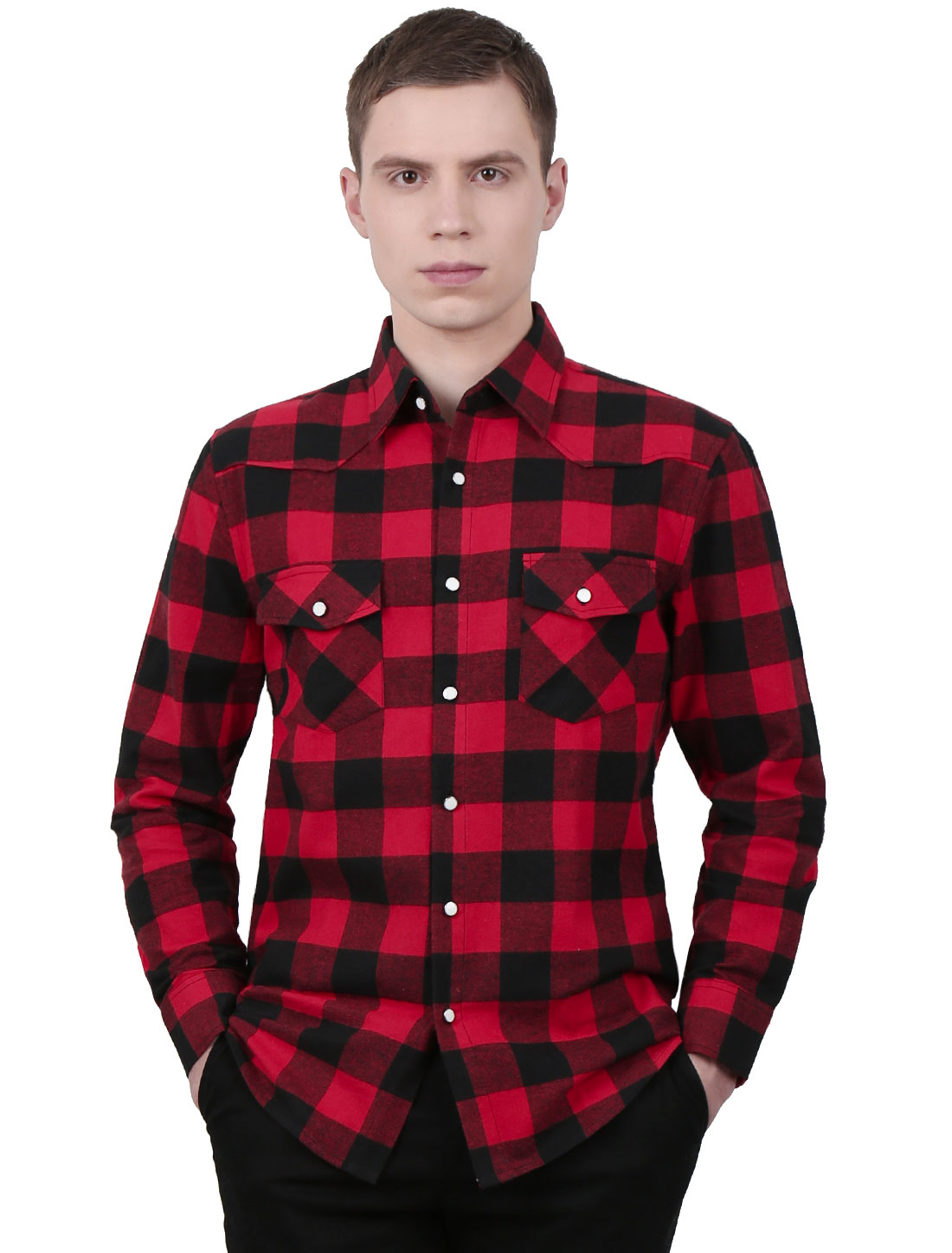 Men Long Sleeve Chest Pockets Button Down Slim Fit Shirt Red Black L