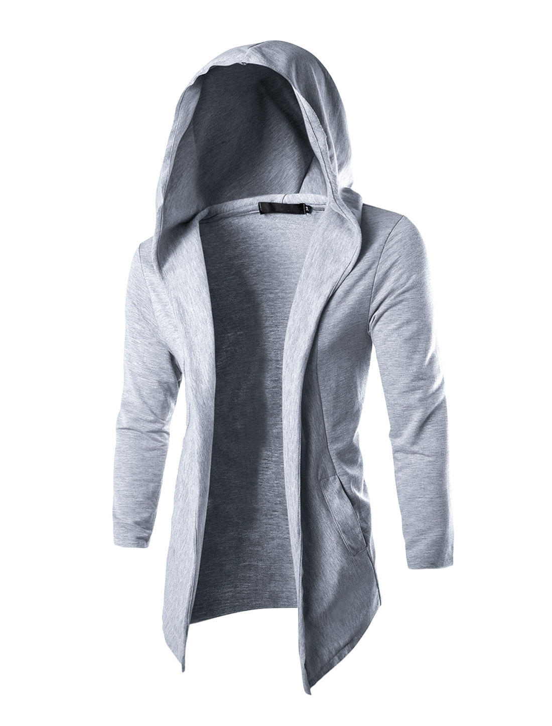 Men Long Sleeves Front Opening Casual Hooded Cardigan Light S Gray