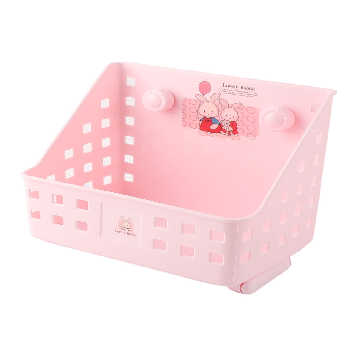 Home Office School Plastic Hollow Out Design Storage Basket Case Container Pink