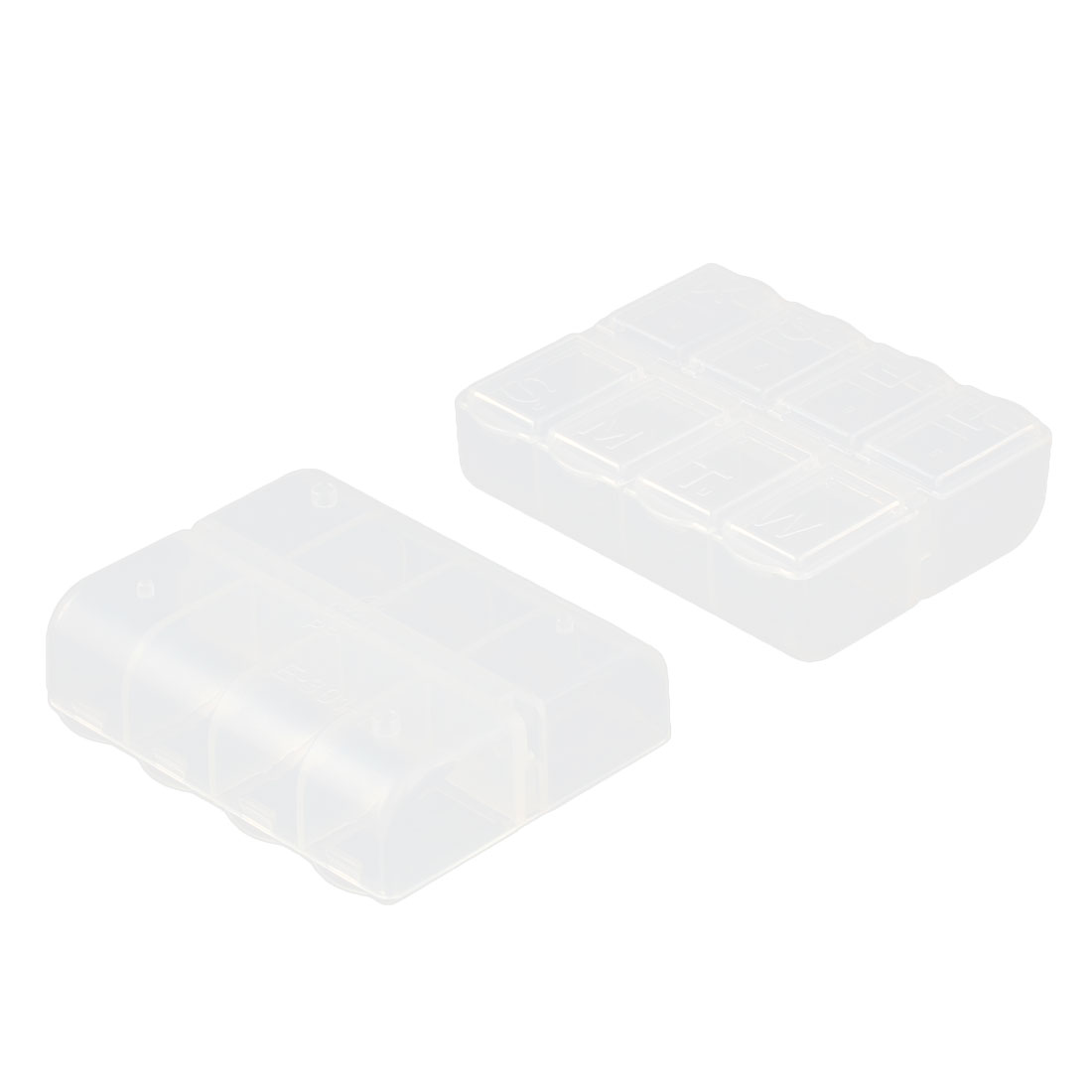 Home Desk Nail Art Beads Plastic 8 Slots Storage Box Container Compartment Clear 2pcs