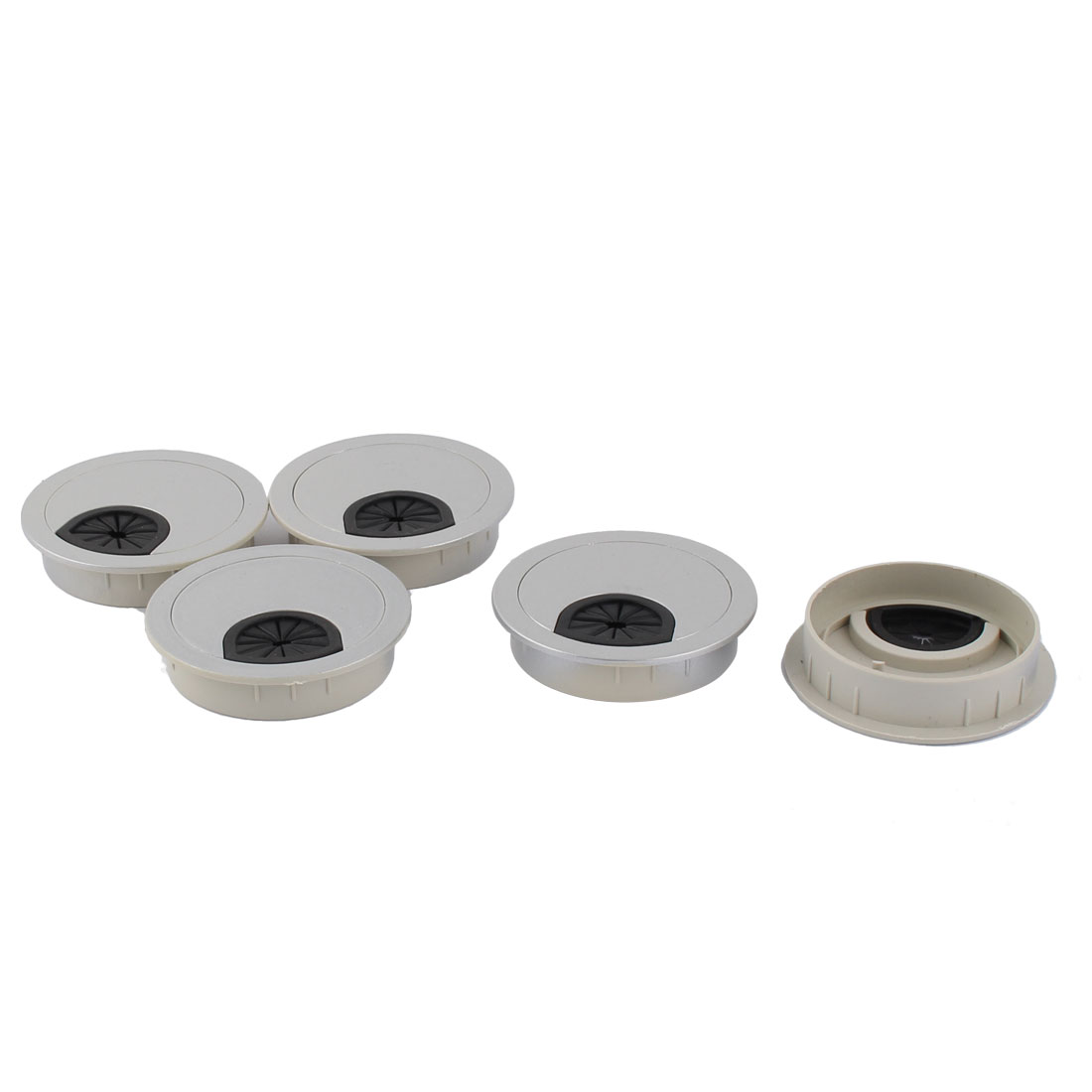 Table Computer Plastic Grommet Cable Tidy Outlet Port Surface Wires Hole Cover Gray 5pcs