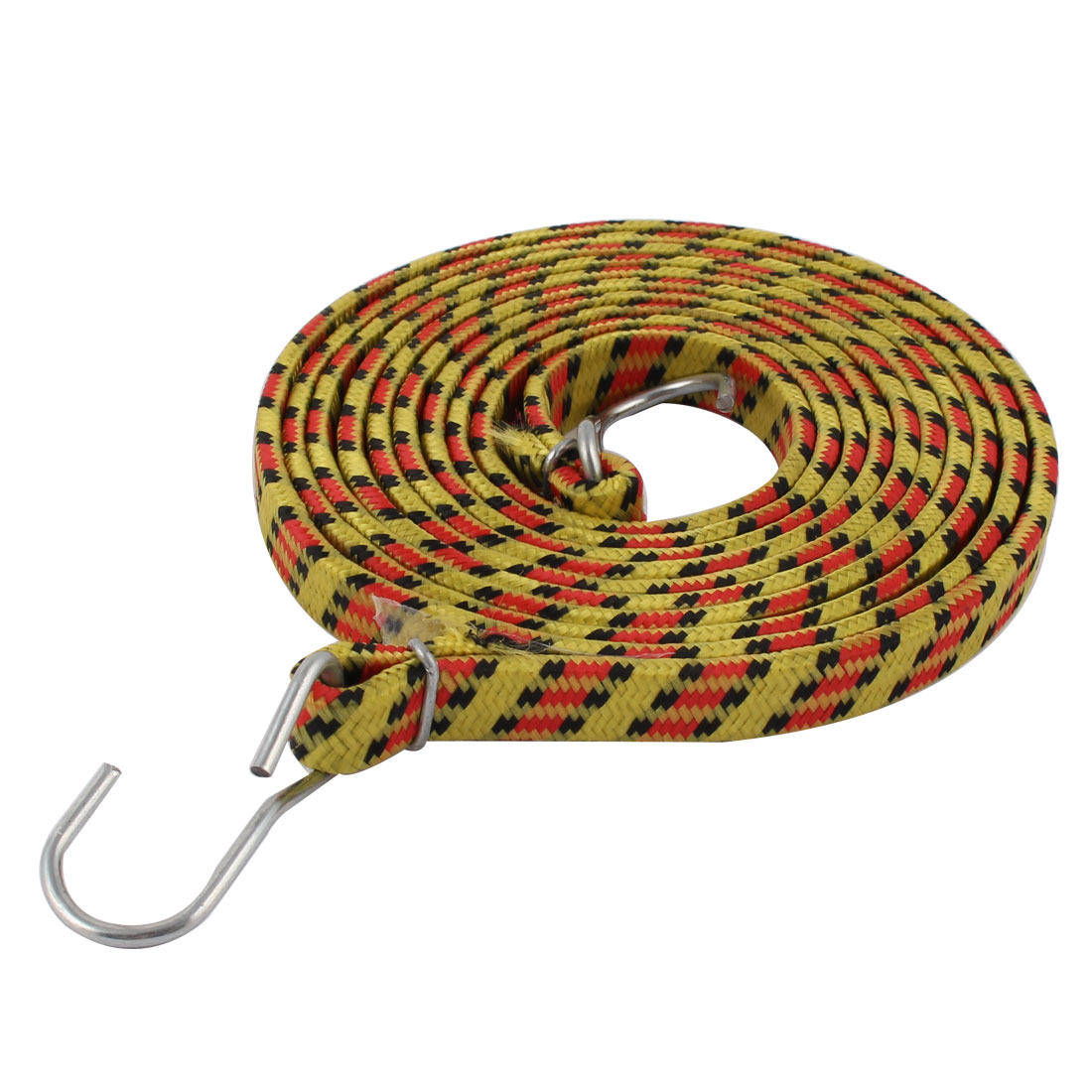 Bicycle Car Metal Hook Flat Stretchy Bundling Luggage Cord Rope Strap Yellow Red