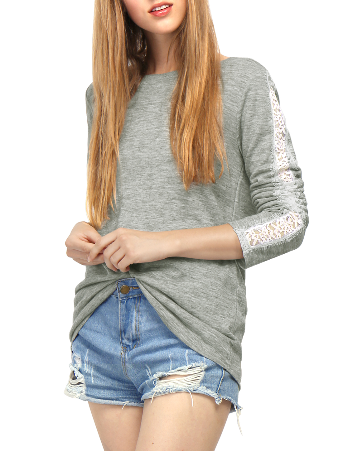 Women Round Neck Lace Panel Long Sleeves T-Shirt Gray XS