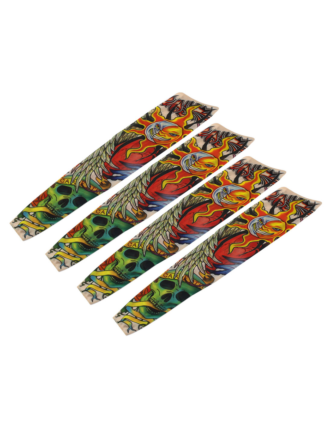 Outdoor Nylon Fire Print Elastic Fake Body Art Tattoo Sleeves Arm Stockings 2 Pairs
