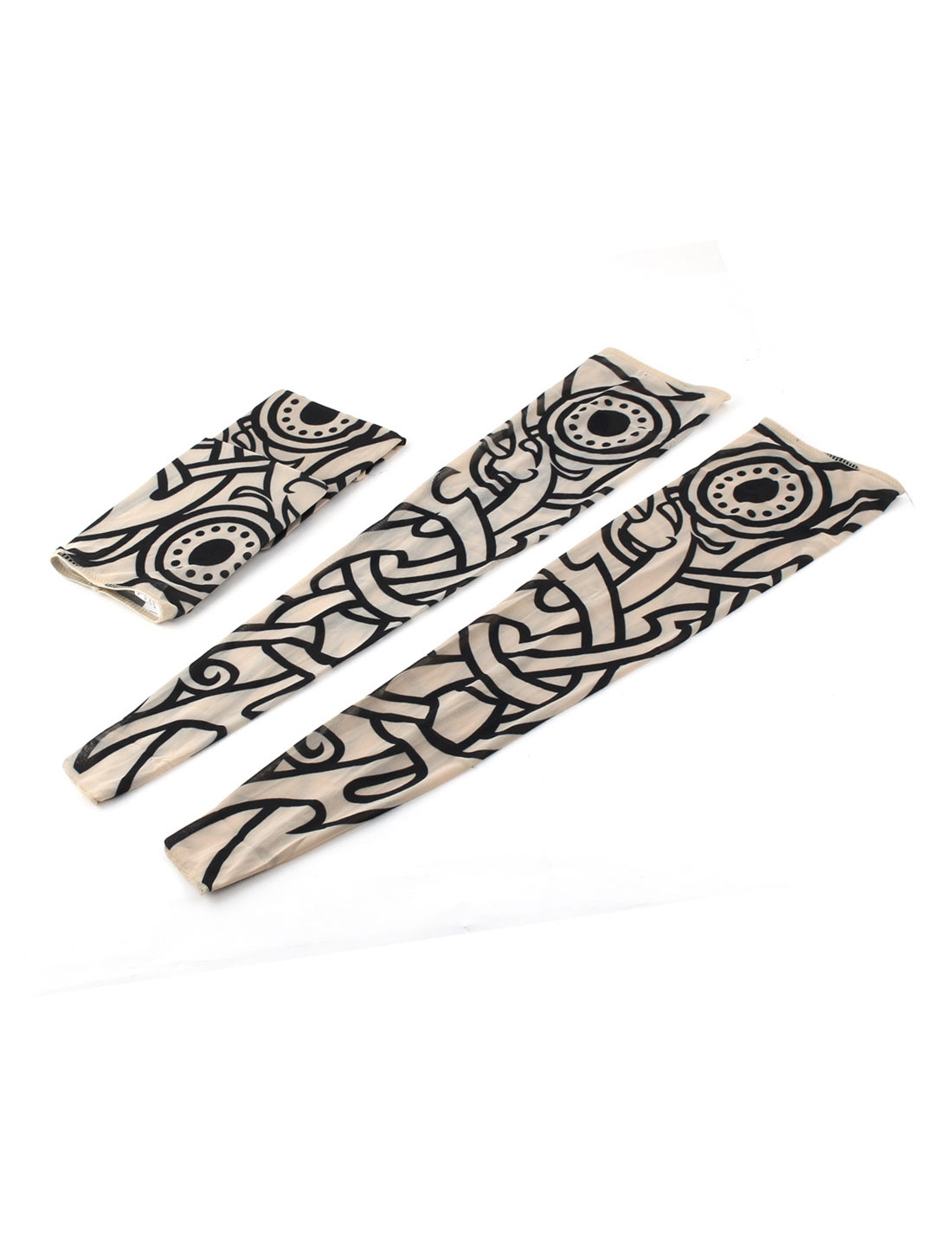 Outdoor Nylon Elastic Fake Body Art Tattoo Sleeves Arm Stockings Protector 2 Pairs