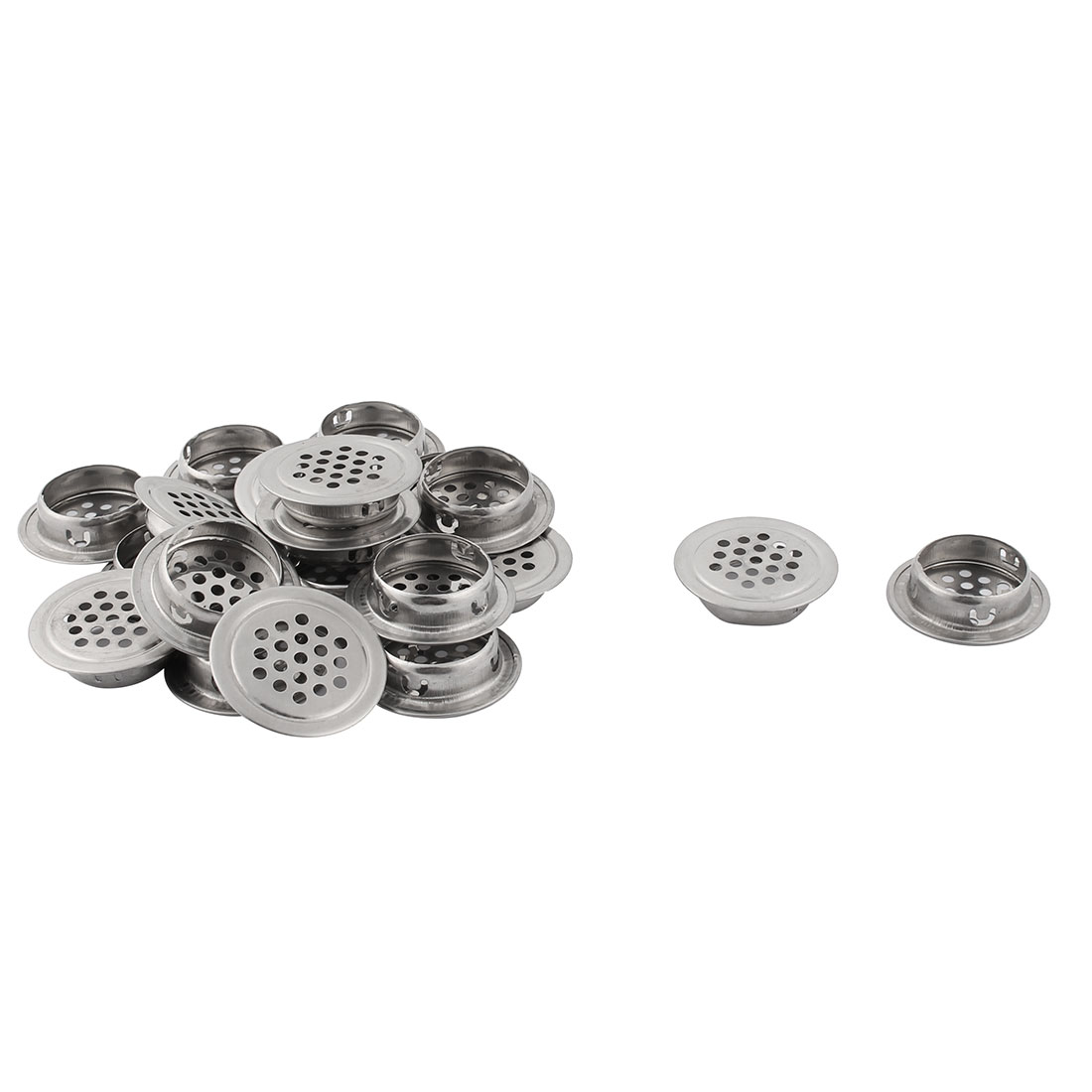 Kitchen Bathroom Stainless Steel Furniture Perforated Mesh Air Vents 29mm Dia 15pcs