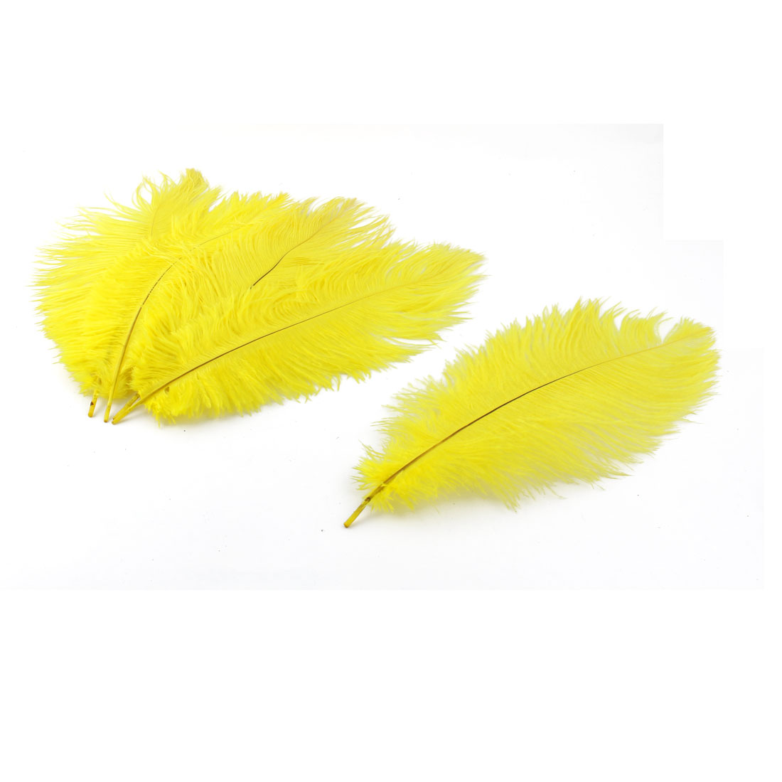 Wedding Party Headwear DIY Decoration Ostrich Feathers Yellow 25-30cm Length 5pcs