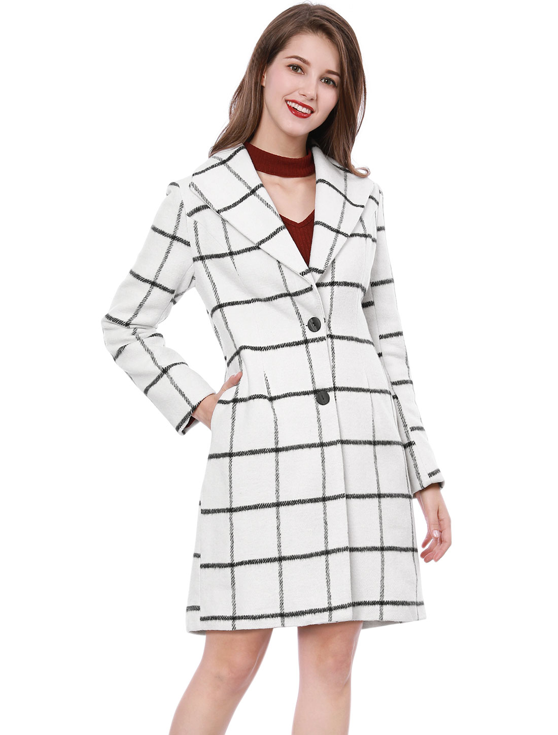 Women Checks Turn Down Collar Long Sleeves Worsted Coat White L