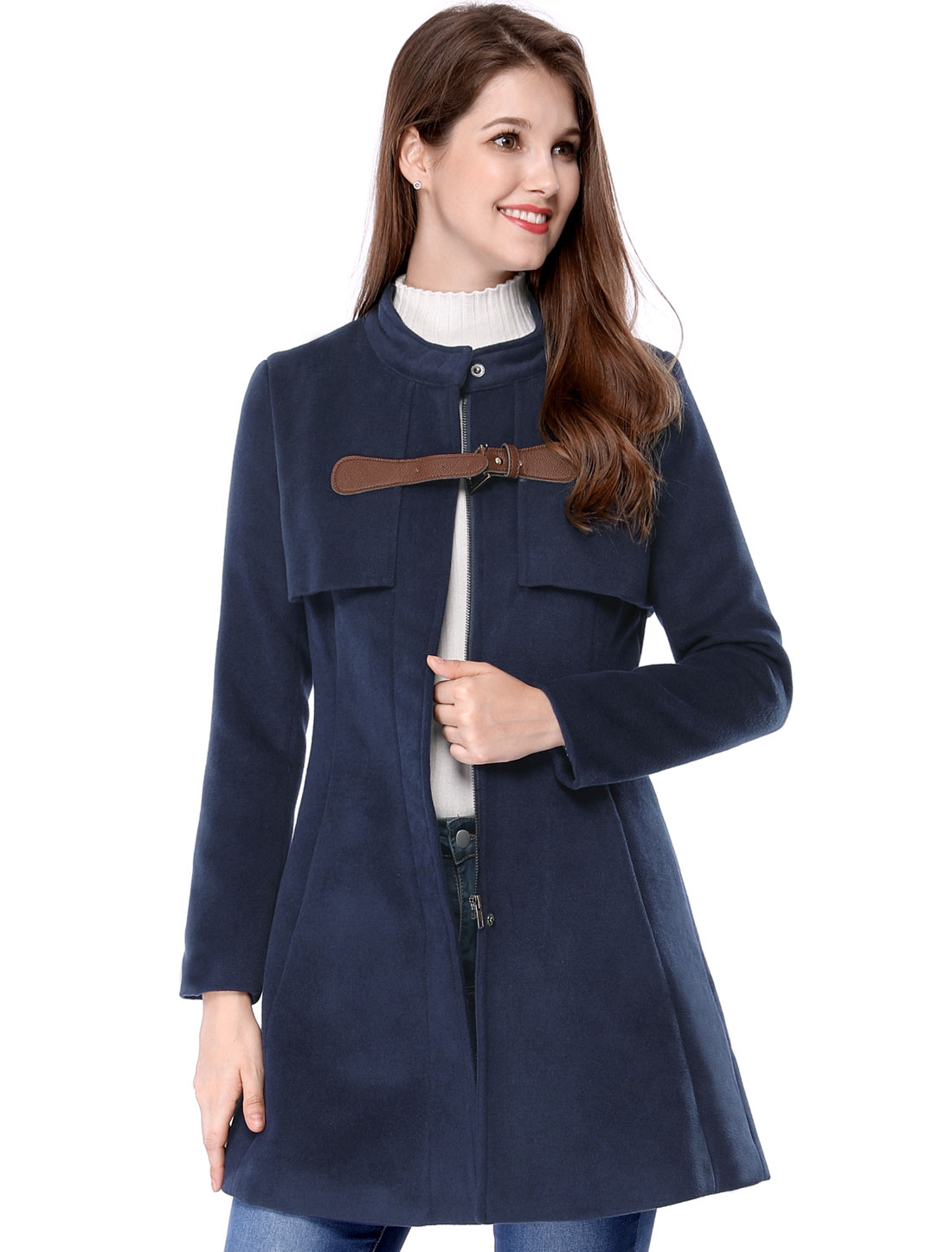 Women Band Collar Buckle Fastening Worsted Caped Flare Coat Blue L