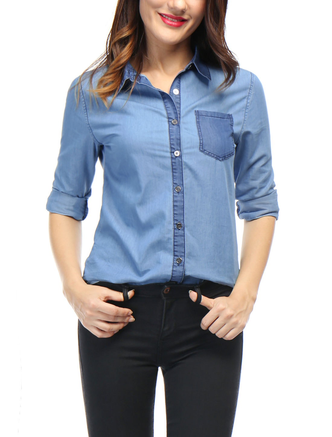 Women Color Block Long Sleeves Button Down Shirt Blue XL