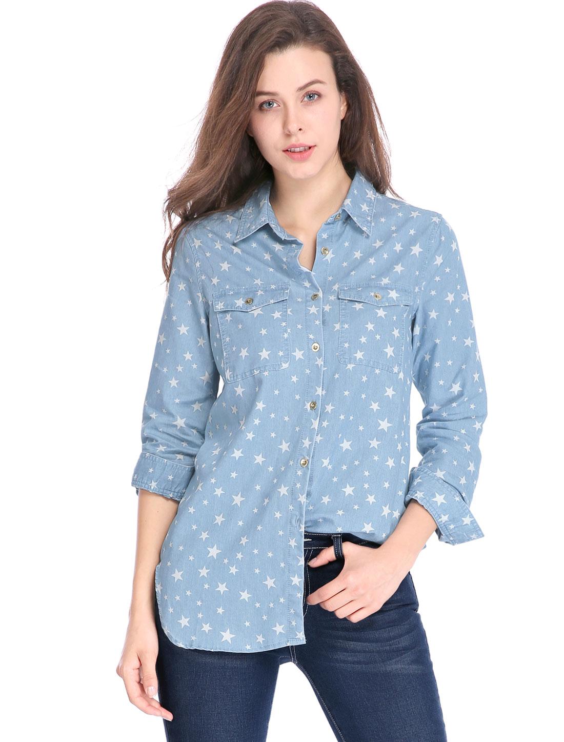 Allegra K Women Long Sleeves Button Closure Stars Tunic Denim Shirt Light Blue L