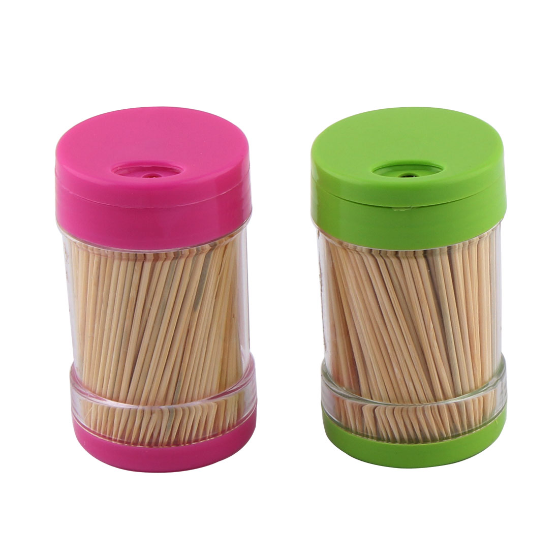 Home Restaurant Plastic Case Box Toothpick Holder Container 2pcs w Toothpicks