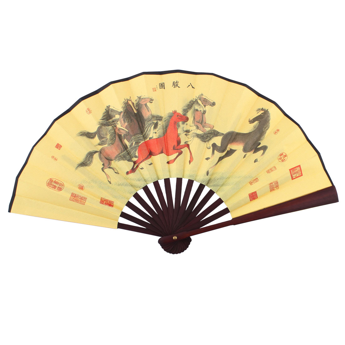 Wooden Frame Eight Horses Pattern Chinese Retro Style Folding Handheld Fan Yellow