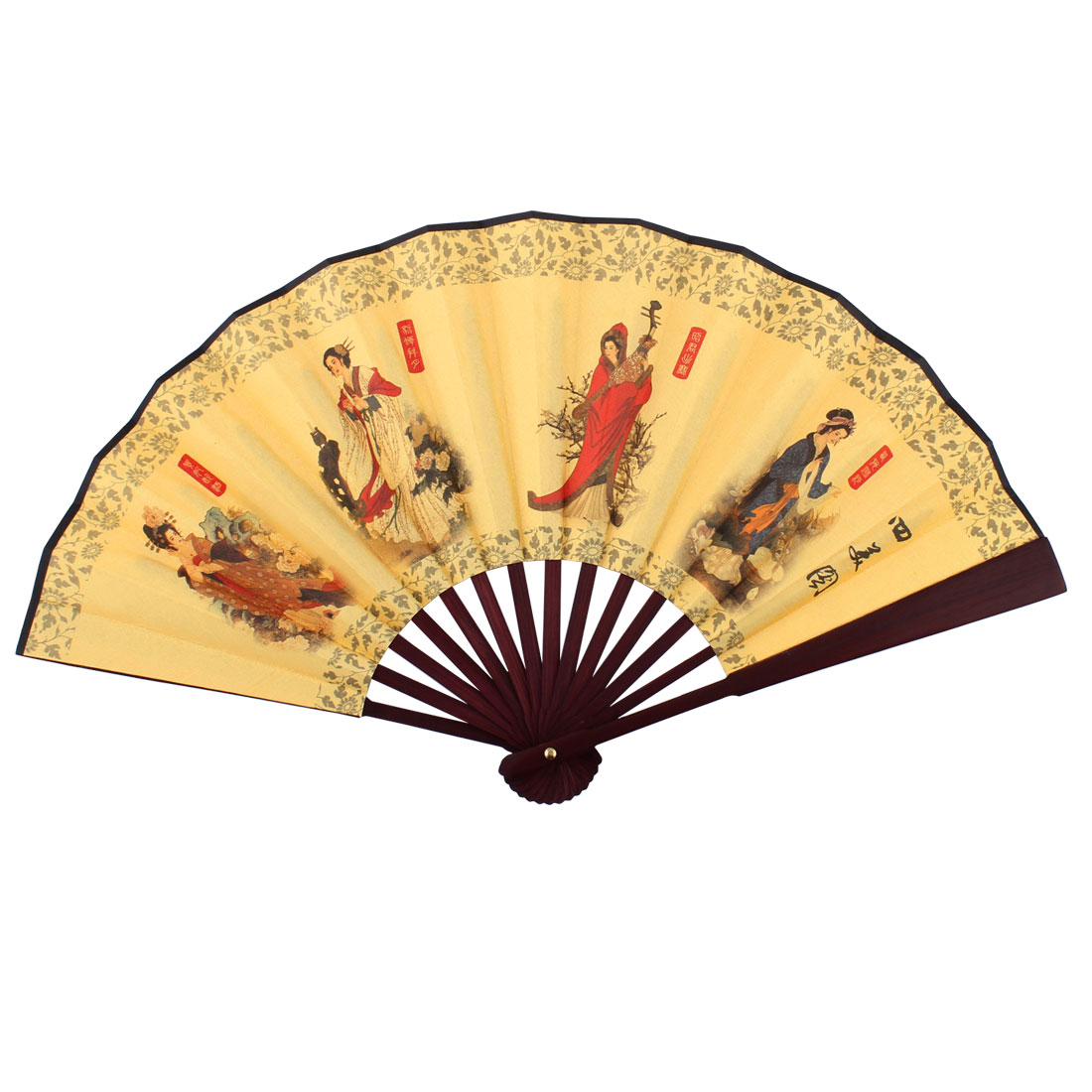 Wooden Frame Four Beauties Pattern Chinese Retro Style Folding Handheld Fan Yellow