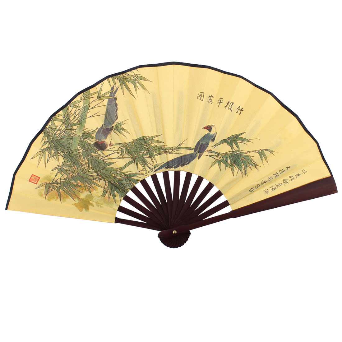 Household Decor Wooden Frame Bamboo Pattern Chinese Retro Style Folding Handheld Fan Yellow