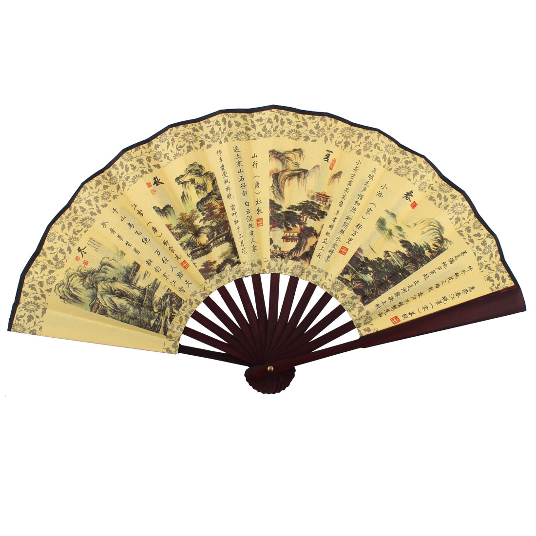 Wooden Frame Four Seasons Pattern Chinese Retro Style Folding Handheld Fan Yellow