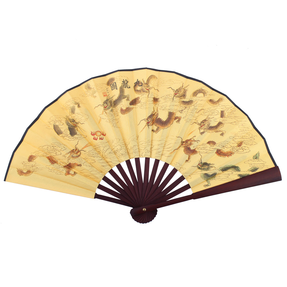 Wooden Frame Dragon Pattern Chinese Retro Style Folding Handheld Fan Yellow