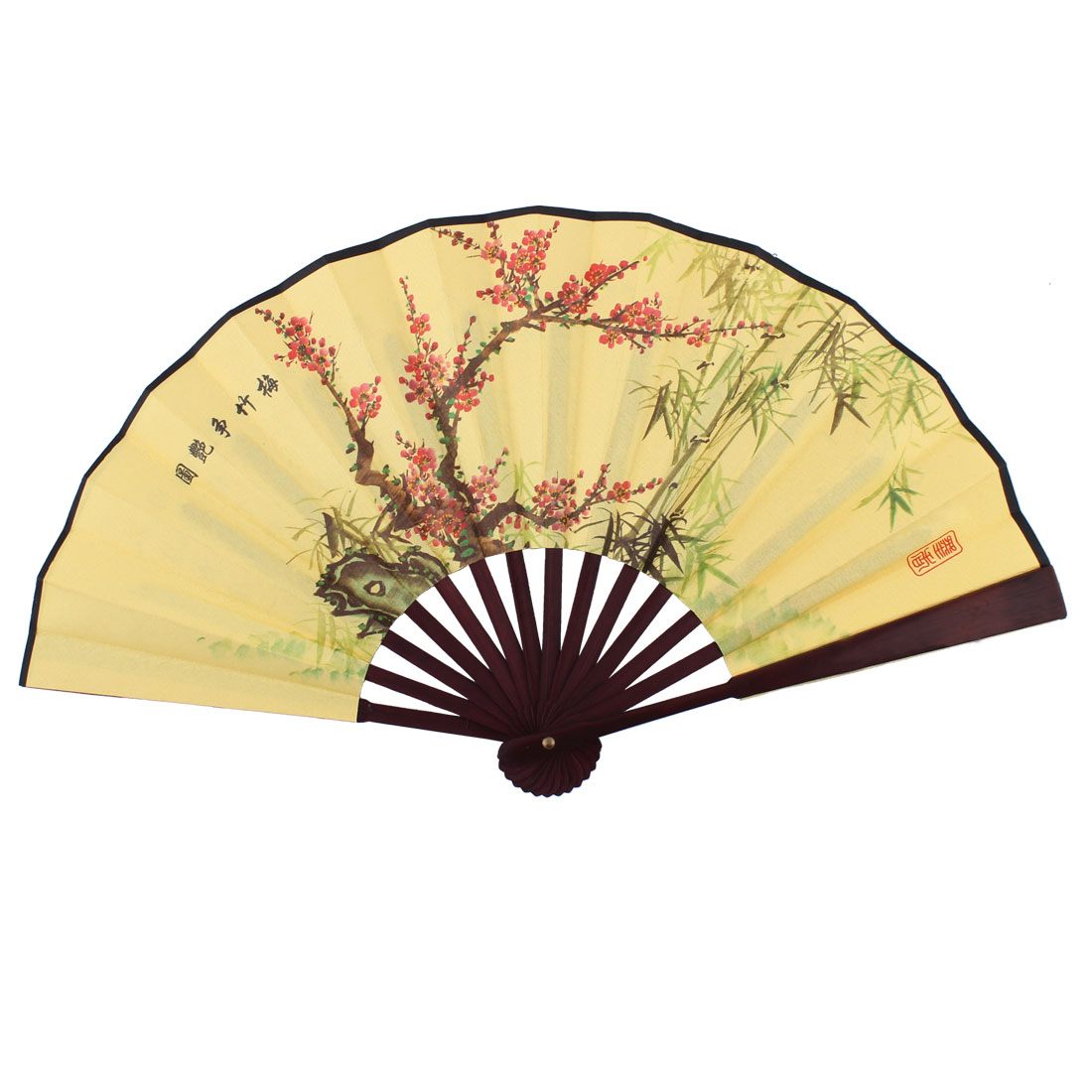 Lady Plum Flower Bamboo Pattern Chinese Style Summer Folding Handheld Fan