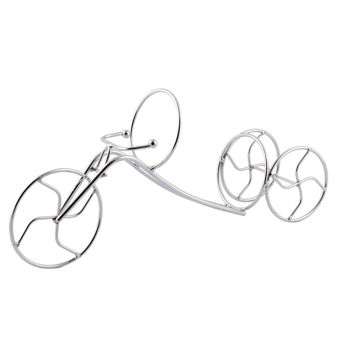 Home Bar Tricycle Design Wine Bottle Display Holder Rack Dining Tool Silver Tone