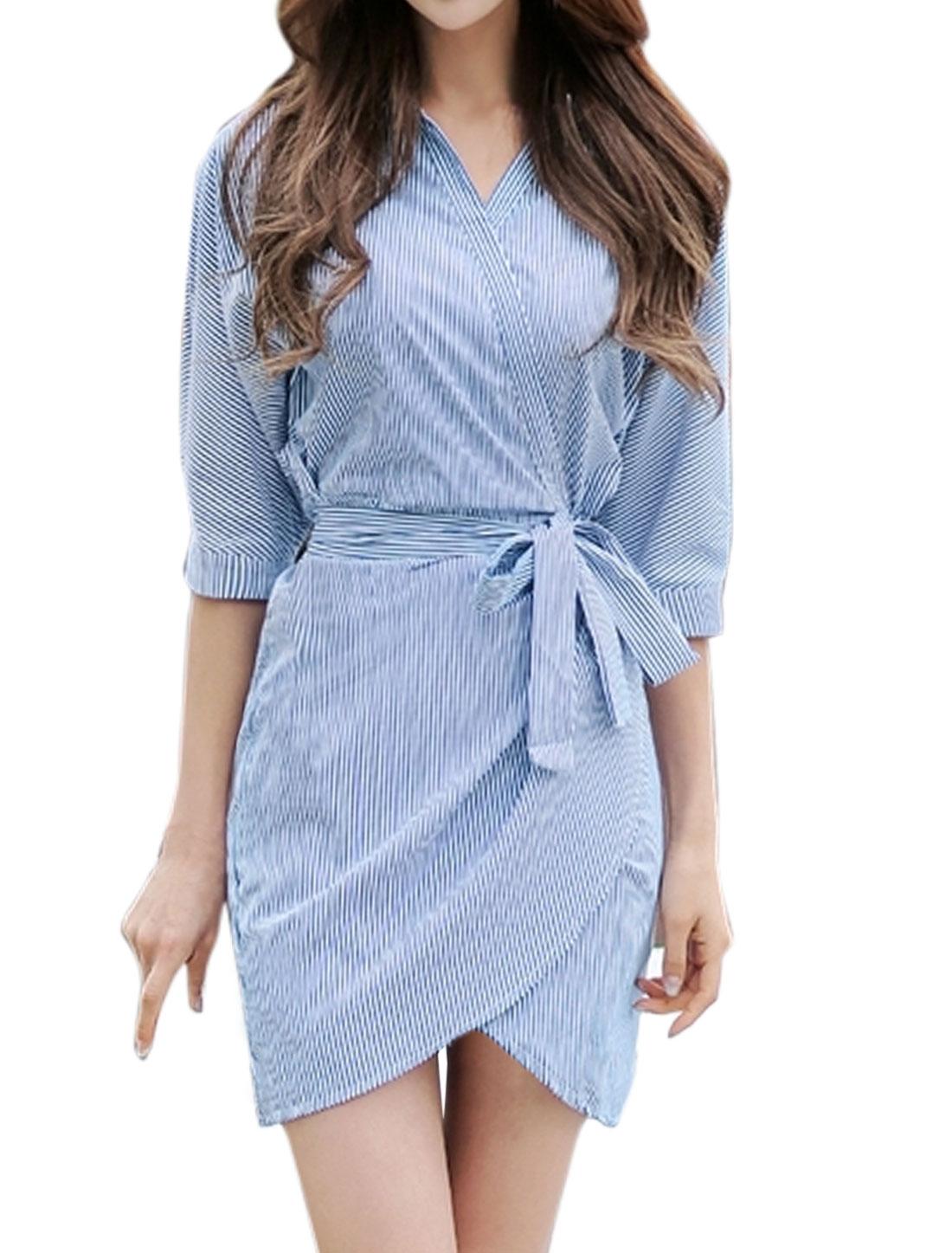 Women Point Collar Tulip Hem Belted Stripes Wrap Dress Blue XS