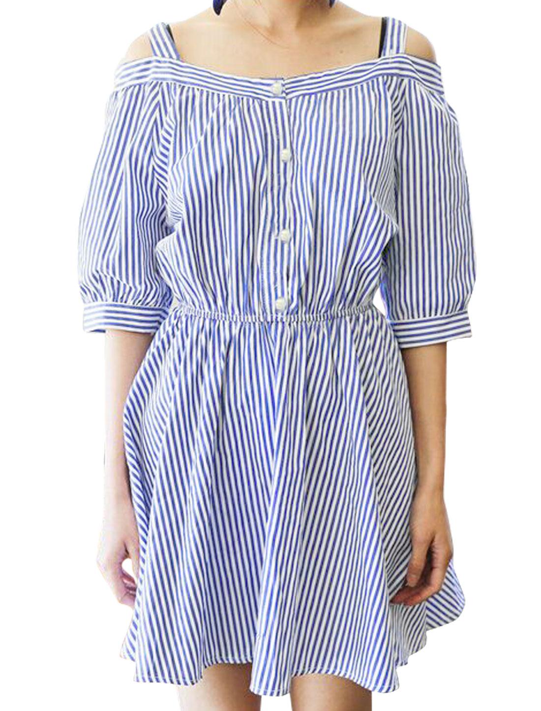 Women Straps Open Shoulder 1/2 Button Closure Stripes Dress Blue S