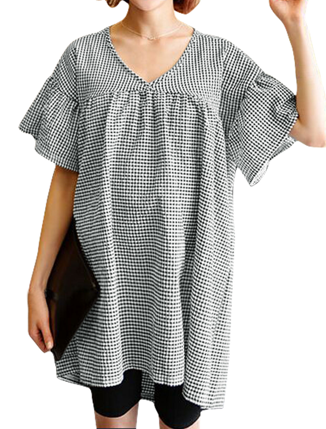 Women V Neck Drop Shoulder Plaids Loose Tunic Dress Black S