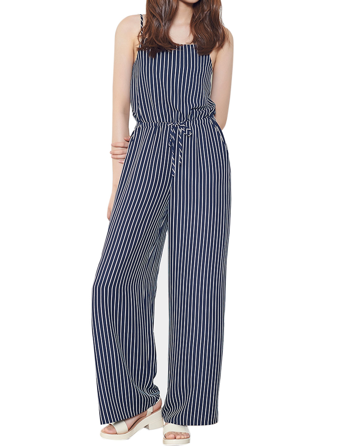 Women Open Back Spaghetti Straps Striped Wide Leg Jumpsuit Blue XS