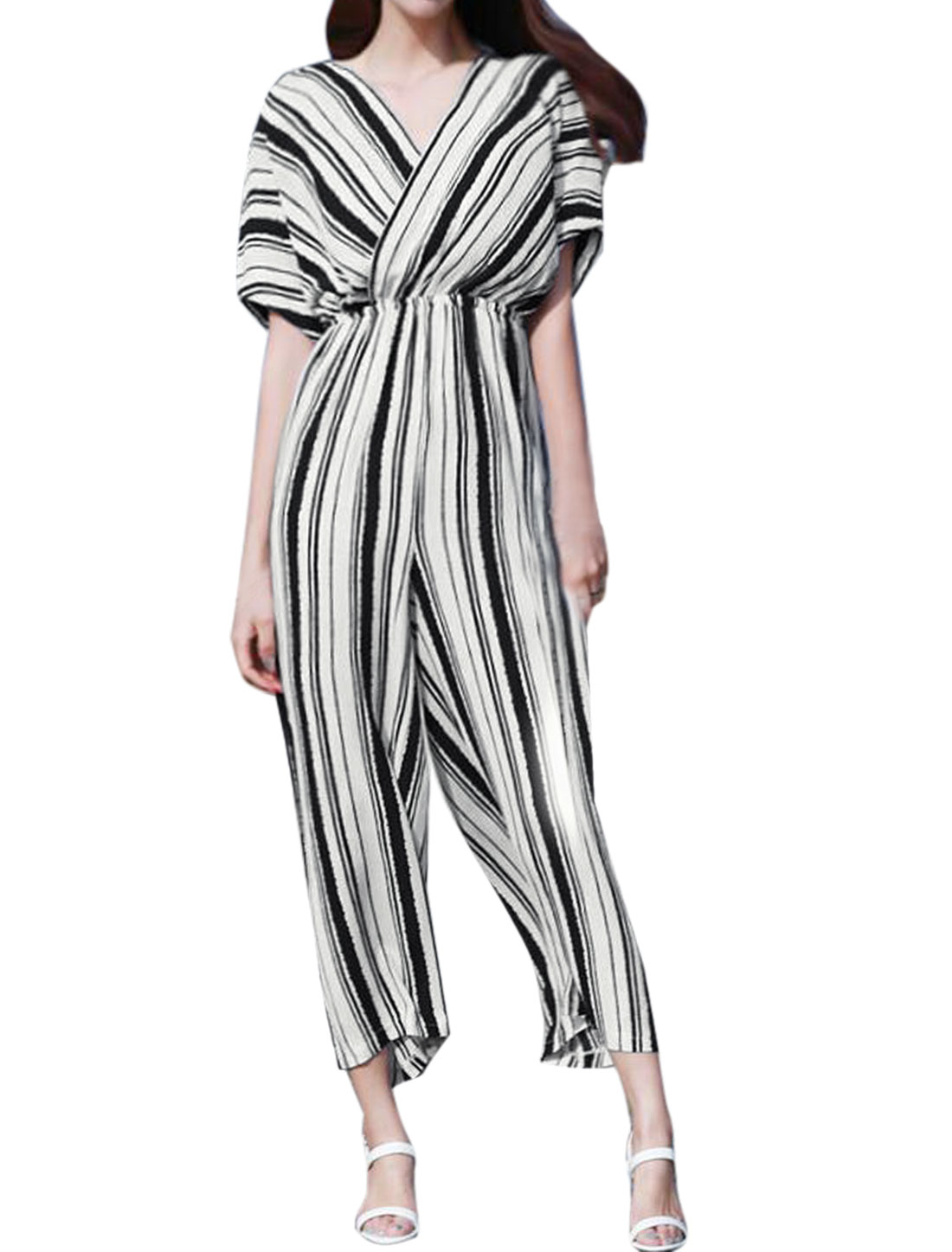 Women Striped Crossover V Neck Batwing Sleeves Cropped Wide Leg Jumpsuit Black S