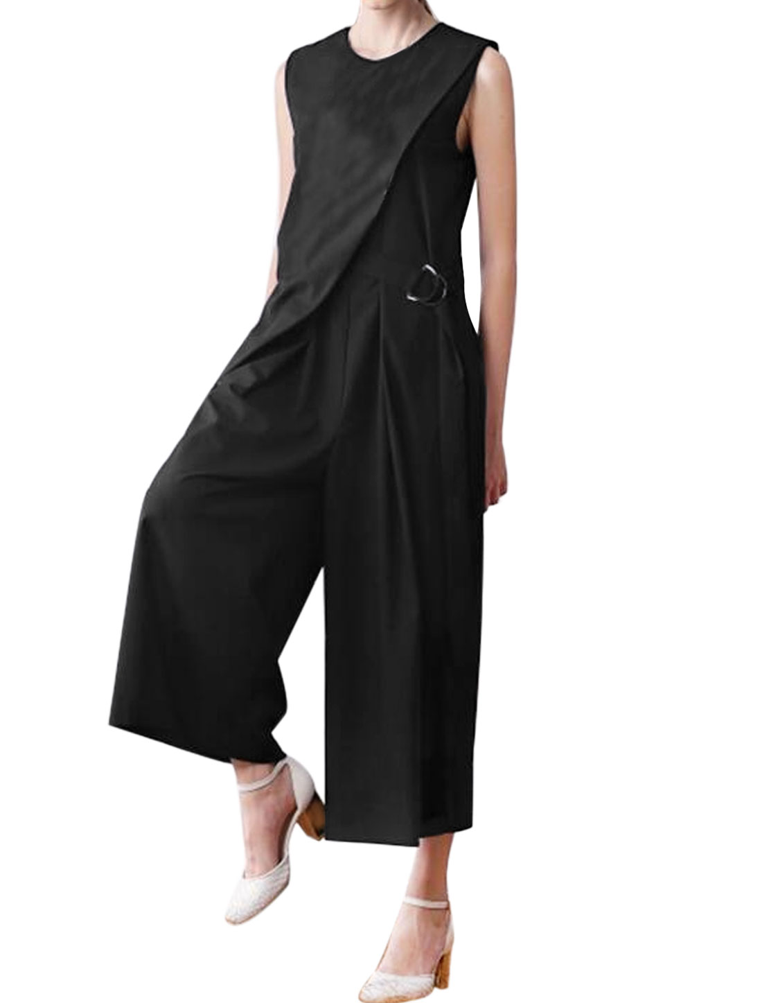 Belted Layered Design Sleeveless Cropped Wide Leg Jumpsuit Black M