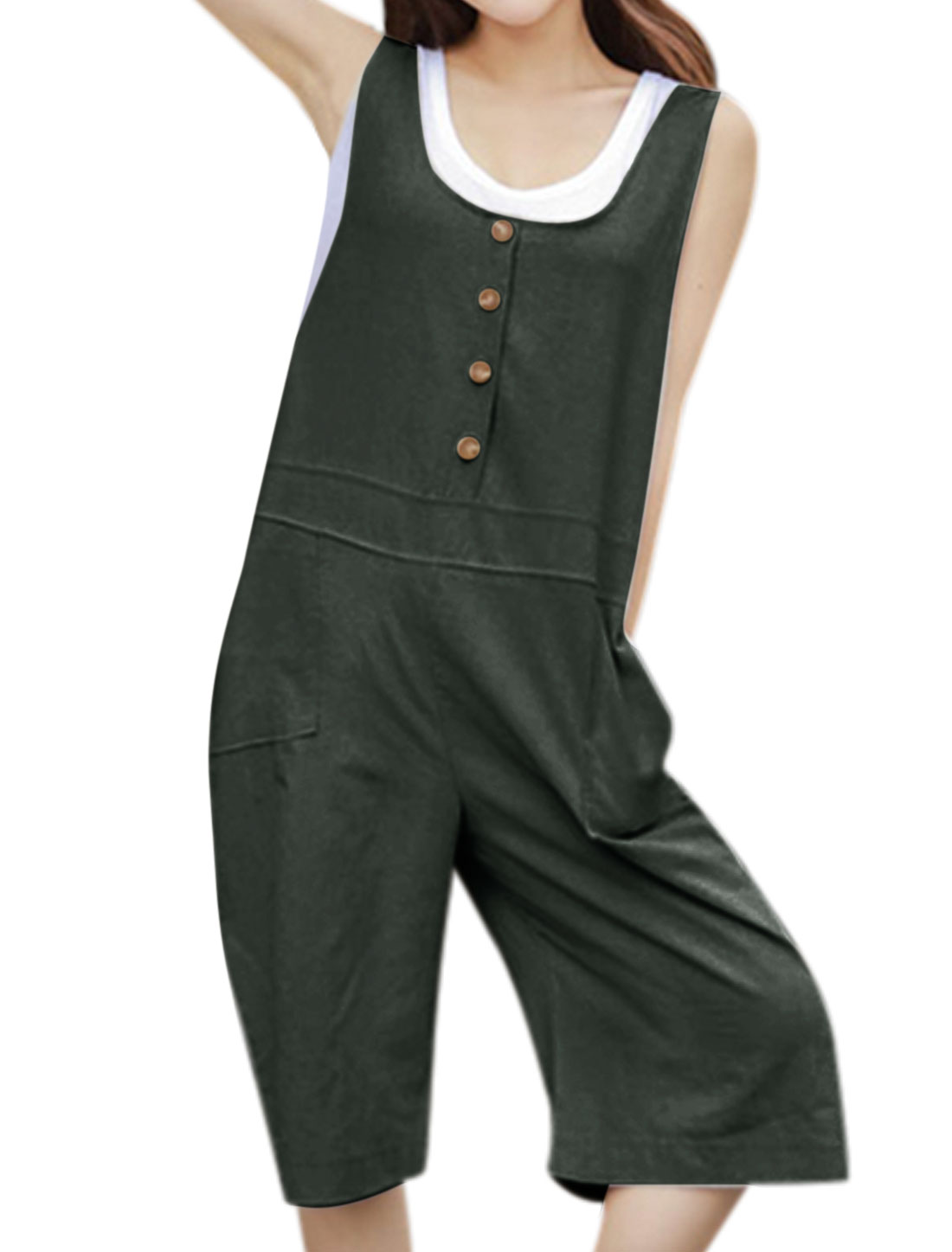 Women U Neck Button Decor Wide Legs Half Suspender Pants Gray M