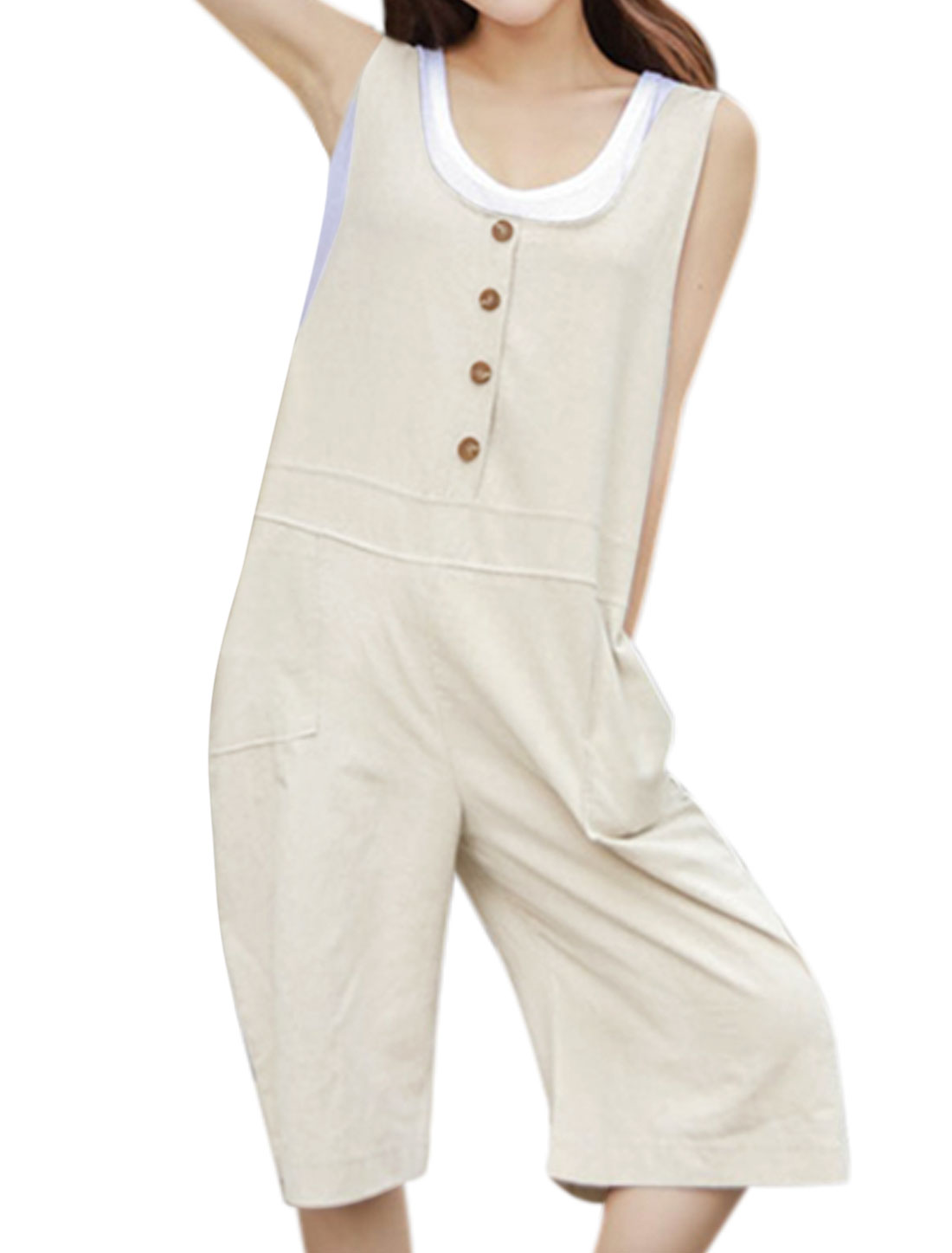 Women U Neck Button Decor Wide Legs Half Suspender Pants Ivory M