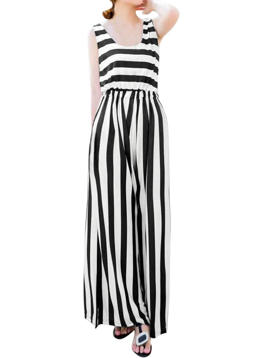 Women Scoop Neck Sleeveless Striped Wide Leg Jumpsuit Black XS