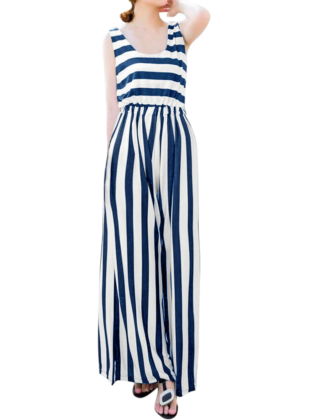 Women Scoop Neck Sleeveless Striped Wide Leg Jumpsuit Blue XS