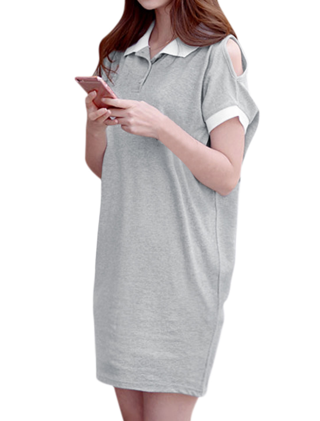 Women Open Shoulder Batwing Sleeves Loose Tunic Polo Dress Gray XS