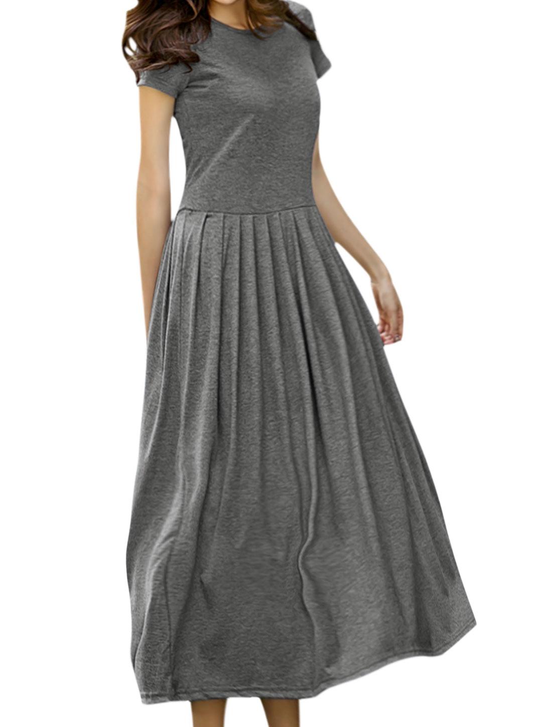 Women Round Neck Short Sleeves Pleated Maxi Dress Gray M