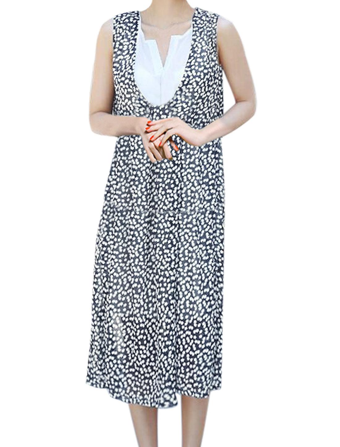 Women Split Neck Sleeveless Floral Print Layered Chiffon Dress Black M