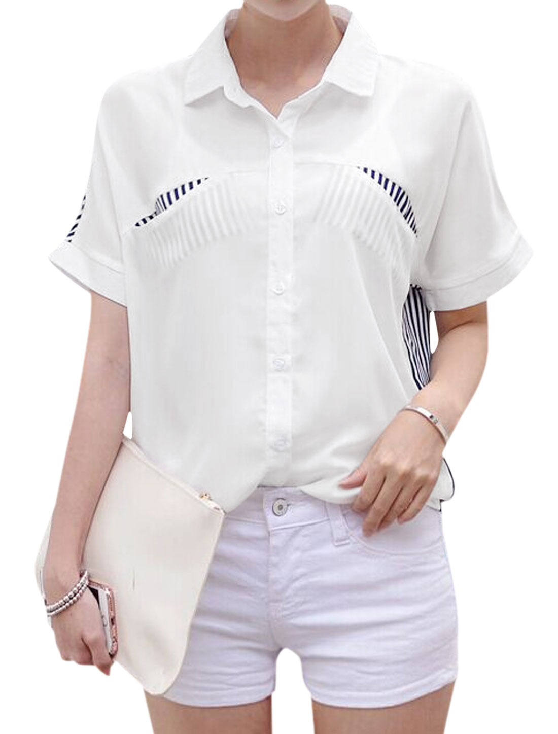 Women Point Collar Short Batwing Sleeves Stripes Chiffon Shirt White M